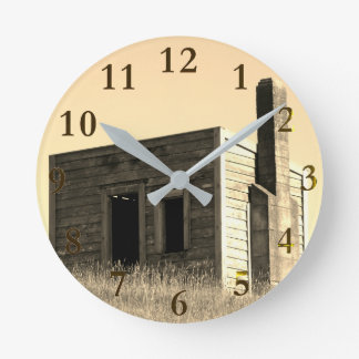 old lonely farm house on the hill round clock
