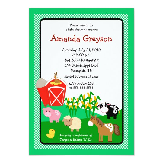 old macdonald barnyard 5x7 baby shower invitation zazzle