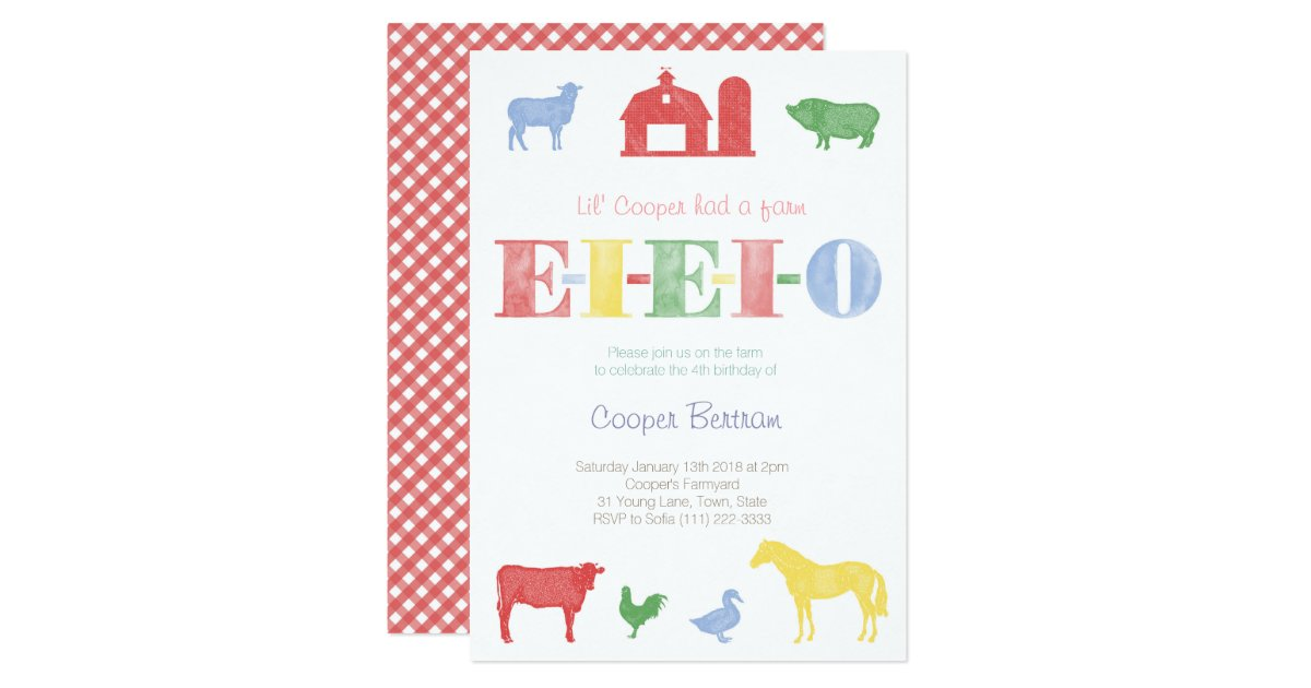 Old MacDonald Birthday Petting Zoo Party Invites