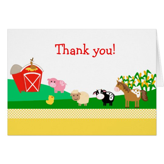 Old MacDonald EIEIO Barnyard Folded Thank you Card