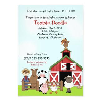 Old MacDonald EIEIO Farm Barnyard Baby Shower 5x7 Paper Invitation Card