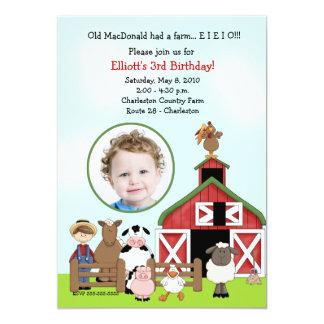 Old MacDonald EIEIO Farm Barnyard Birthday PHOTO Card