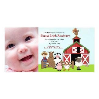 Old MacDonald Farm 8x4 Photo Birth Announcement Customized Photo Card