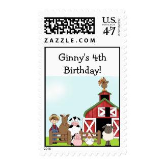 Old MacDonald Farm Barnyard EIEIO Postage Stamps
