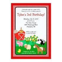 Old MacDonald Farm EIEIO 5x7 Birthday Invitation