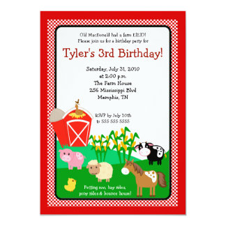 Old MacDonald Farm EIEIO 5x7 Birthday Invitation