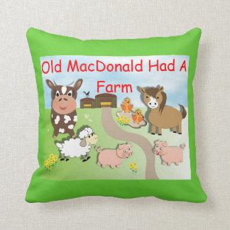 Old MacDonald Had A Farm Cute Kids Throw Pillow