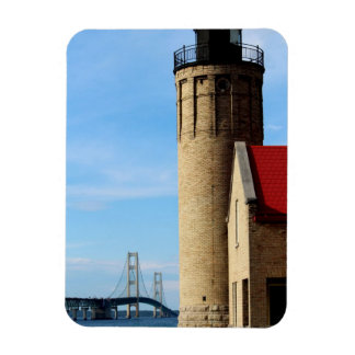 Old Mackinac Point Lighthouse and Mackinac Bridge Magnet