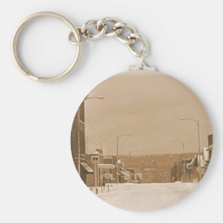 Old Main Street in the Snow Keychain