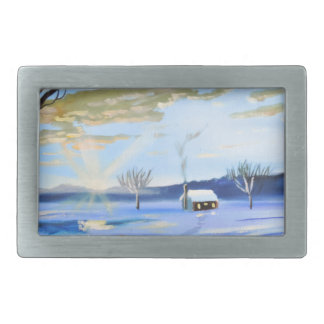 Old man and his dog winter snow painting belt buckle