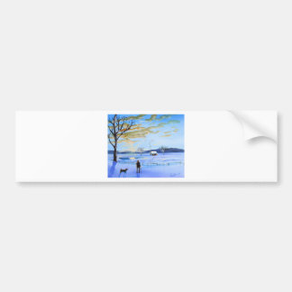 Old man and his dog winter snow painting bumper sticker