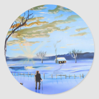 Old man and his dog winter snow painting classic round sticker