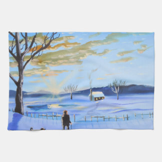 Old man and his dog winter snow painting hand towel