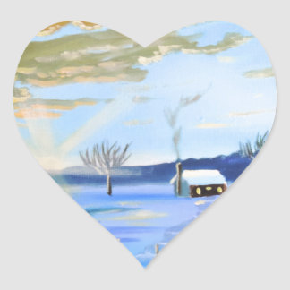 Old man and his dog winter snow painting heart sticker