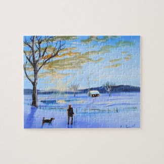 Old man and his dog winter snow painting jigsaw puzzle
