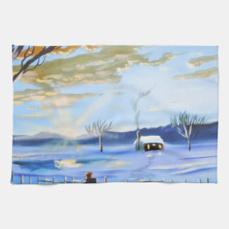 Old man and his dog winter snow painting kitchen towels