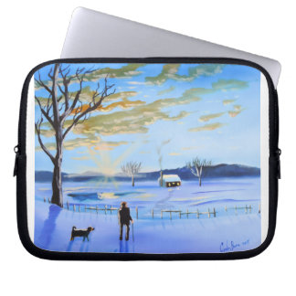 Old man and his dog winter snow painting laptop sleeve