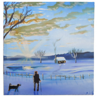 Old man and his dog winter snow painting napkin