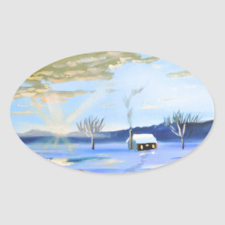 Old man and his dog winter snow painting oval sticker