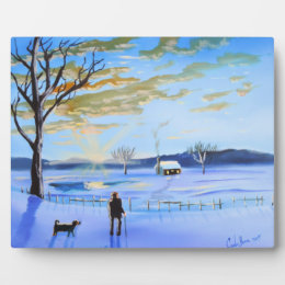 Old man and his dog winter snow painting plaque