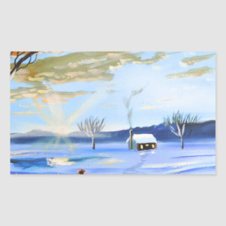 Old man and his dog winter snow painting rectangular sticker