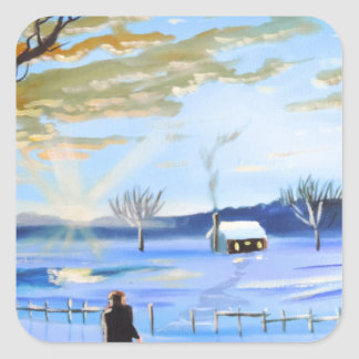 Old man and his dog winter snow painting square sticker