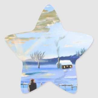Old man and his dog winter snow painting star sticker