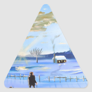 Old man and his dog winter snow painting triangle sticker