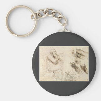 Old Man and Water Sketch by Leonardo da Vinci Basic Round Button Keychain
