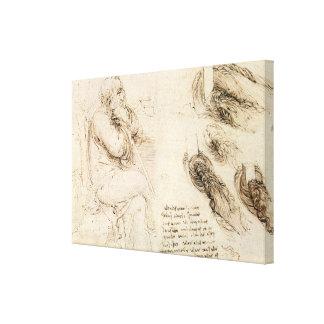 Old Man and Water Sketch by Leonardo da Vinci Canvas Print