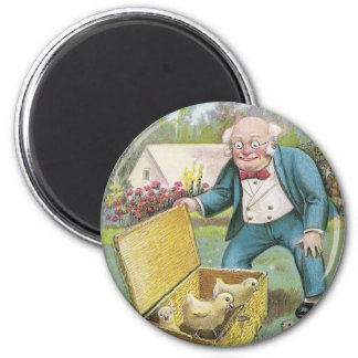 Old Man and Young Chicks Vintage Easter Magnet