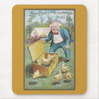 Old Man and Young Chicks Vintage Easter Mouse Pad