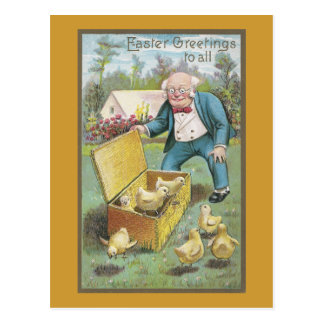 Old Man and Young Chicks Vintage Easter Postcard
