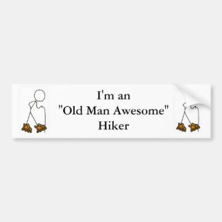 Old Man Awesome Hiker Car Bumper Sticker