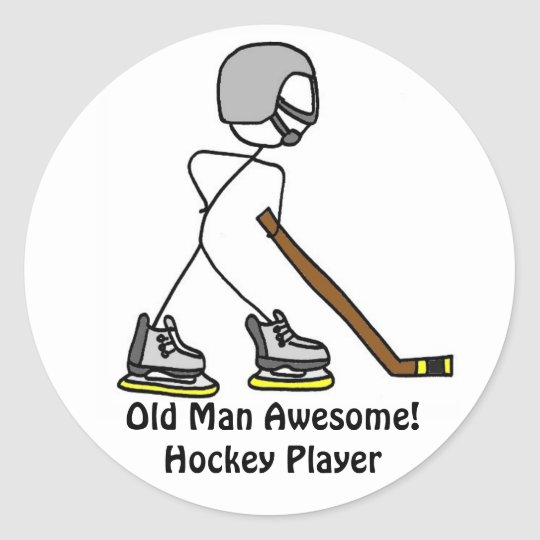 Old Man Awesome! Hockey... Classic Round Sticker