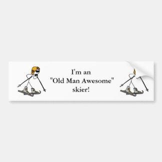 Old Man Awesome Skier Car Bumper Sticker
