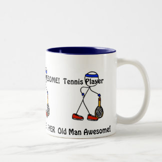 Old Man Awesome! Tennis Player Two-Tone Coffee Mug