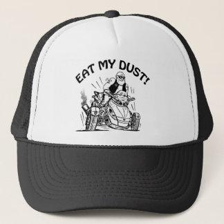 old man biker, eat my dust, can-am spyder bike trucker hat