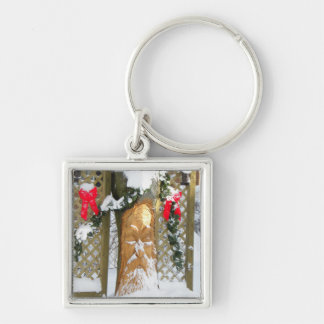 Old Man Christmas Tree Silver-Colored Square Keychain