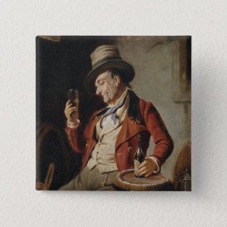 Old Man Drinking Beer Painting Button
