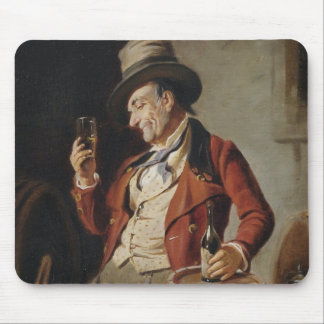 Old Man Drinking Beer Painting Mouse Pad