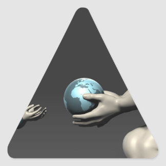 Old Man Giving Earth to a Child as a Conservation Triangle Sticker