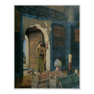 Old man in front of a tomb, 1903 poster