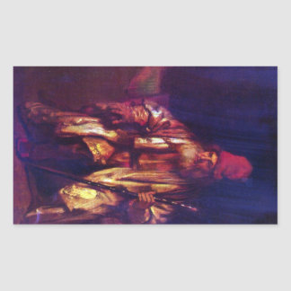 Old man in the armchair 2 by Rembrandt Rectangular Sticker