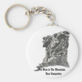 Old Man in The Mountain, NH- Artist's Pen Sketch Basic Round Button Keychain