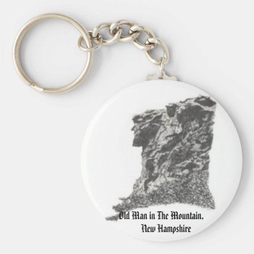 Old Man in The Mountain, NH- Artist's Pen Sketch Key Chain