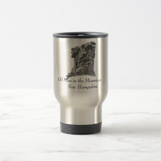 Old Man in the Mountain, NH - Artist's Pen Sketch 15 Oz Stainless Steel Travel Mug
