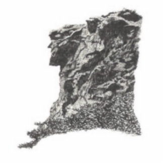 Old Man in the Mountain, NH - Artist's Pen Sketch Photo Cutout