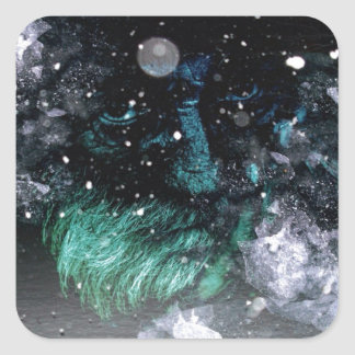 Old man of winter grunge look square sticker