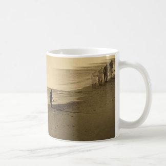 old man on beach mug